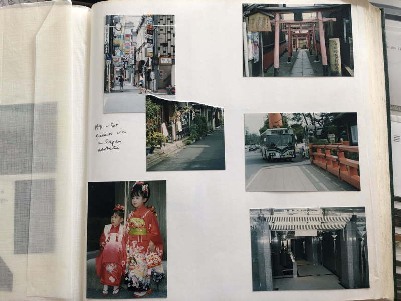 Page from a personal photograph album: small, blurry colour photos taken in Japan 1990s