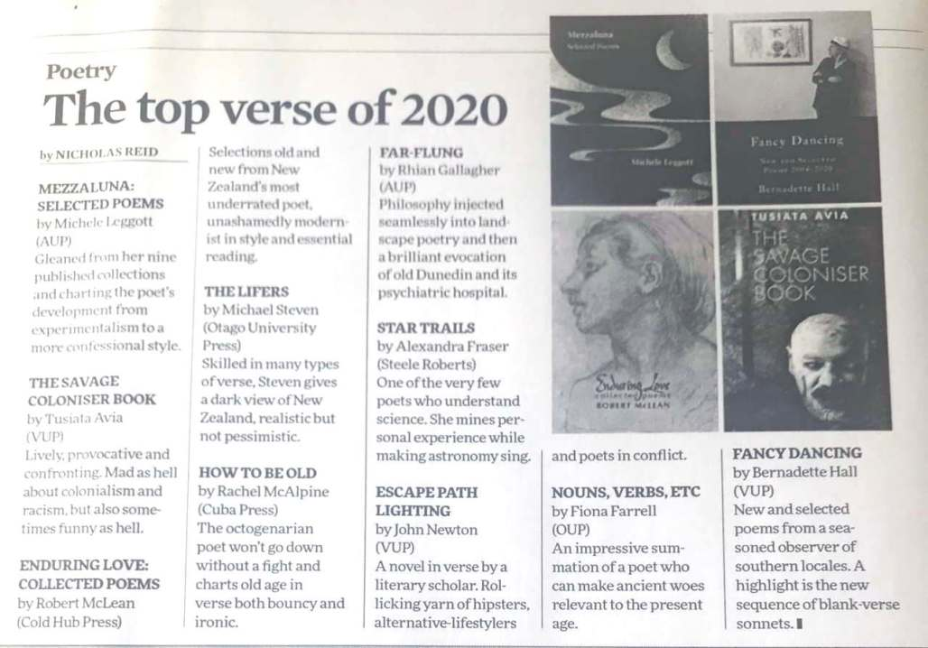 Screenshot of The top verse of 2020 in NZ Listener, including How To Be Old