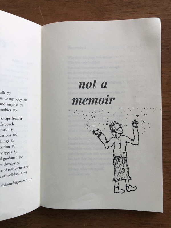 Page from a book. Text: Not a memoir. Drawing: old woman with fog and tiny hearts around her head.