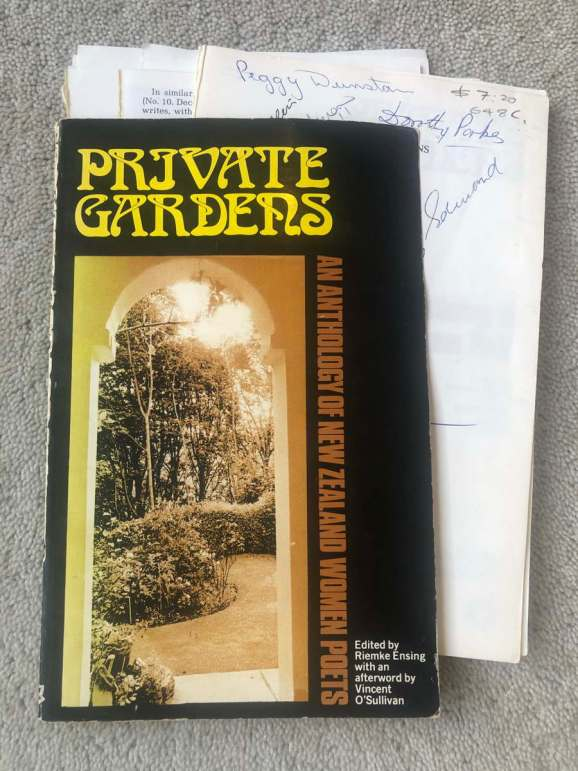A battered copy of Private Gardens, anthology of New Zealand Women Poets edited by Riemke Ensing