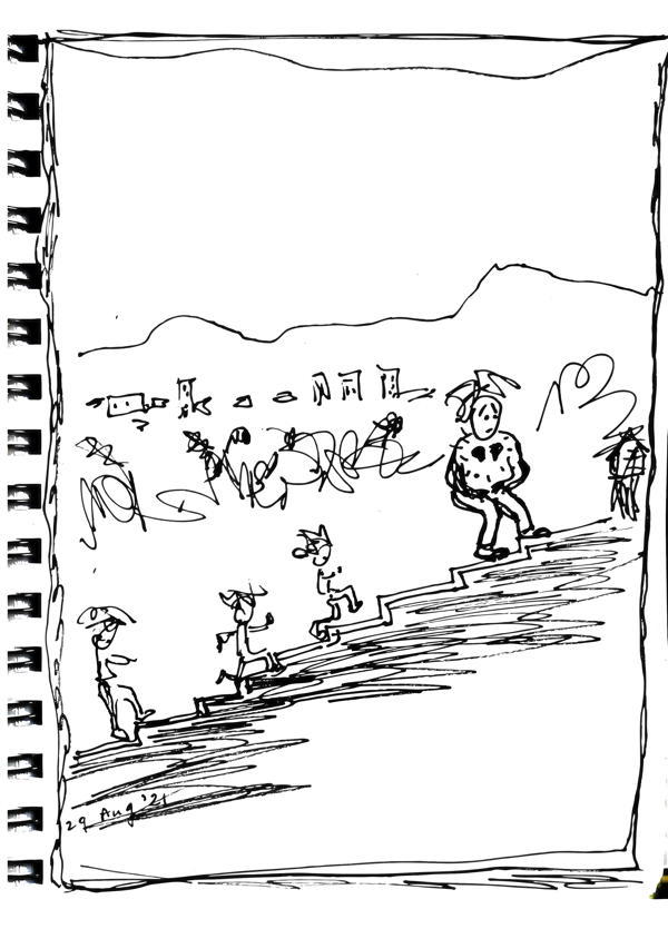 Drawing of young people hurrying up steps on a hill and one older person pausing for a rest.