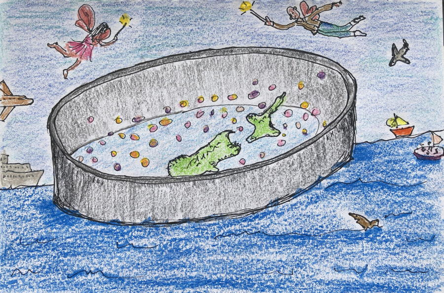 Drawing. Aotearoa New Zealand surrounded by a big wall keeping out ships, sharks and sailing boats. Good fairies fly overhead.