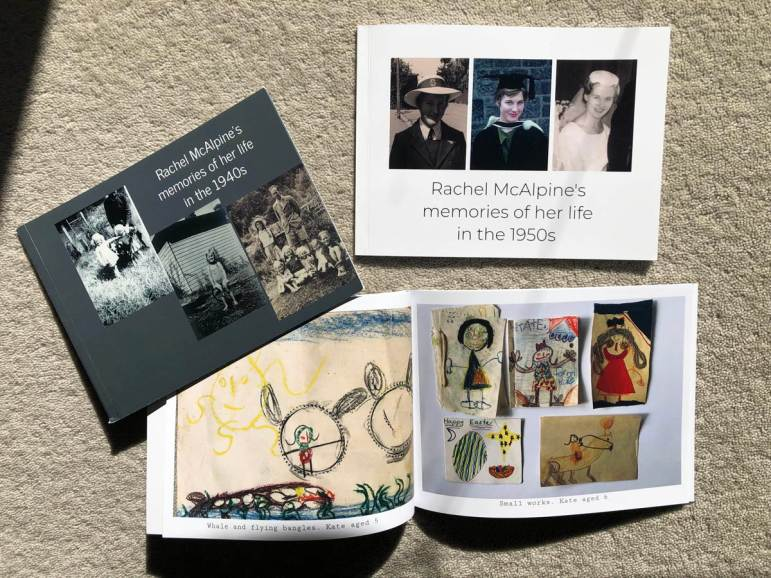 Three small photobooks: memories of my life in the 1940s, memories of my life in the 1950s, and precious drawings by my childre.