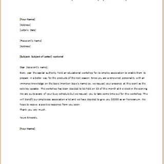 Invitation Letter To Speak At Some Employee S Work