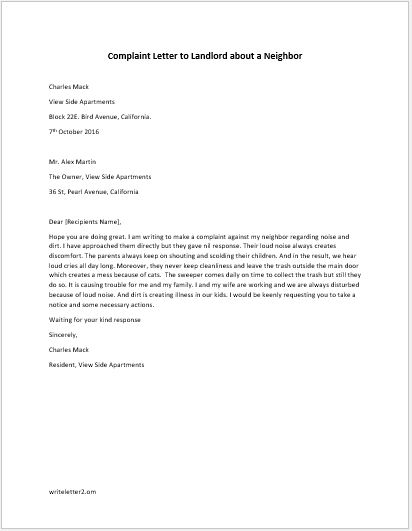 Complaint Letter To Landlord About A