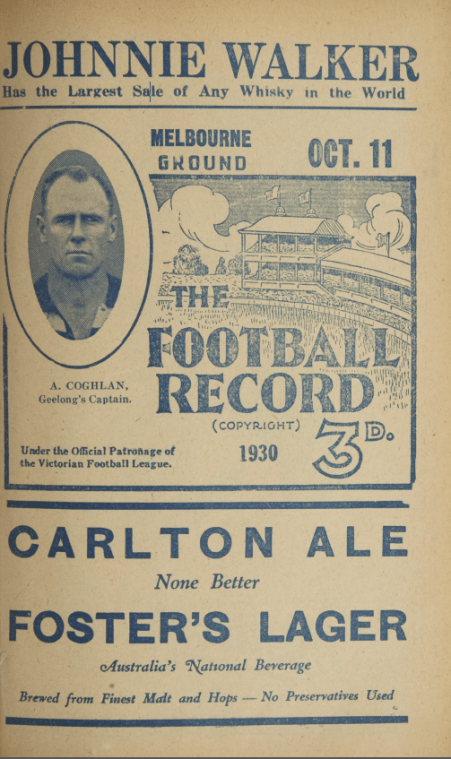 1930 Football Record cover; advertisers knew their market