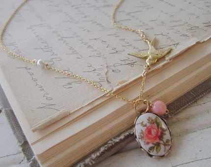French rose cameo necklace by amyhatch, $23.50