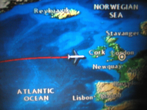 Charting my progress on the plane. Almost to Ireland!