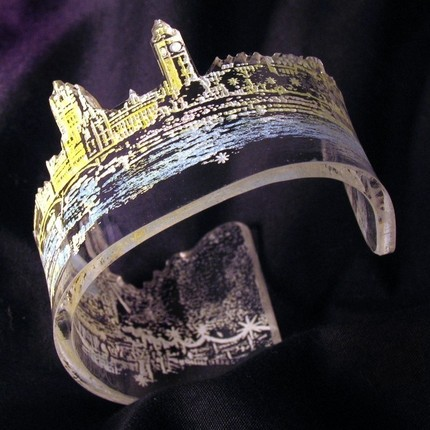 London Skyline, laser cut & etched, hand-painted bracelet by GetPersonalArt, $30