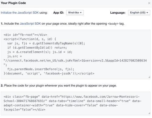 Facebook Plugin Code Screen Shot