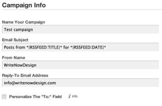 Mail Chimp RSS Feed Setup Screen