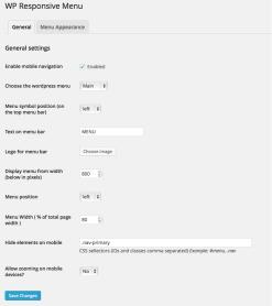 General settings screen