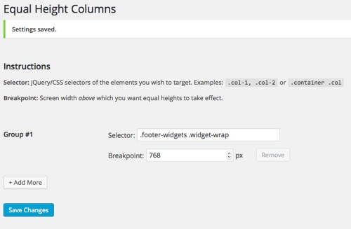 Equal Height Columns Plugin Settings Screen