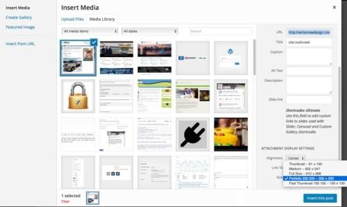 WordPress Media Manager Screen