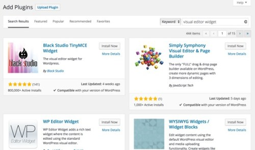 Wordpress Search for Plugins Screen