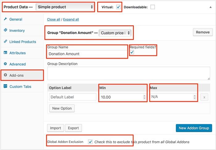 WooCommerce Product Add-ons Screen