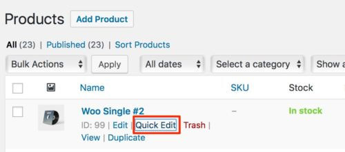 WooCommerce Quick Edit Product Order 1