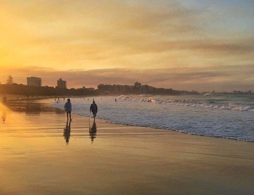 sunset, mooloolaba, mooloolaba beach, beach, silhouette