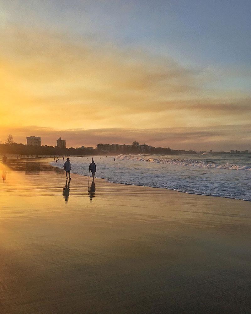Sunset at Mooloolaba Beach on the Sunshine Coast in Queensland, Australia