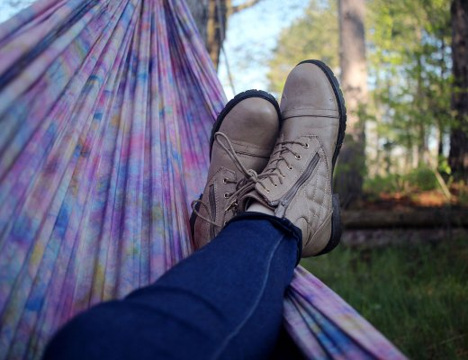 feet up in a hammock relaxing