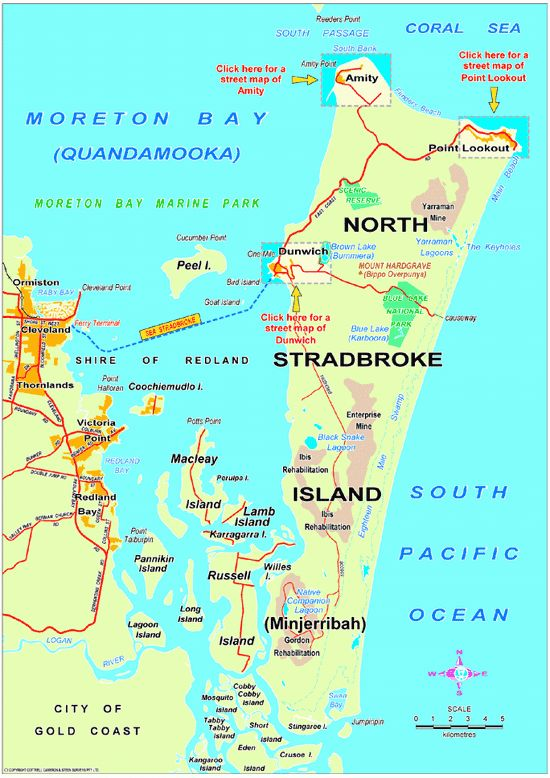 Map showing location and size of Stradbroke Island.