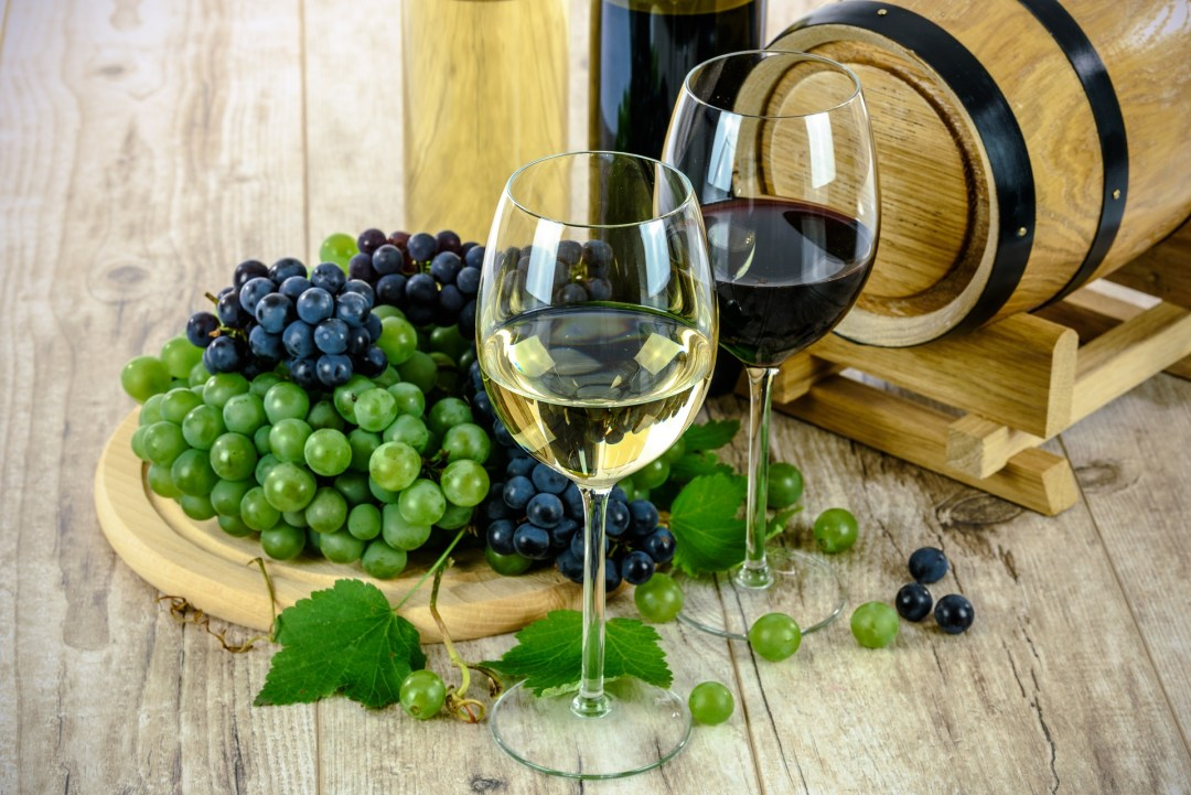 Healthy Eating Habits - White wine and red wine and green grapes and red grapes