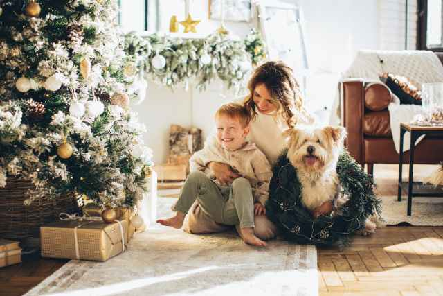woman in brown long sleeve shirt sitting beside brown and black long coated small dog. organic or boho or vintage or cottage christmas noel. sustainable people celebrate christmas too and appreciate scoring a good deal.