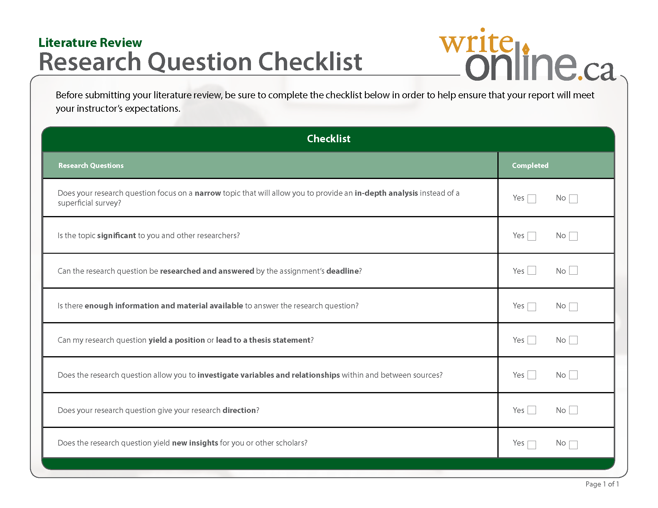 Literature Review Discussion Questions