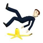 3d render of cartoon character with banana peel