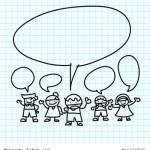 Kids hand draw cartoon on  graph paper.