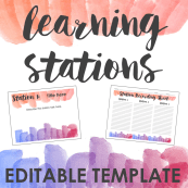 Watercolor Learning Stations Template COVER