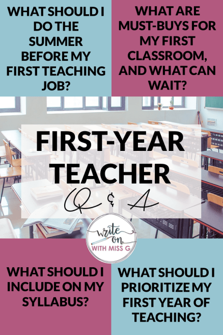 First-Year Teacher Questions: What should I do the summer before my first teaching job? What are must-buys for my first classroom, and what can wait? What should I include on my syllabus? What should I prioritize my first year of teaching?