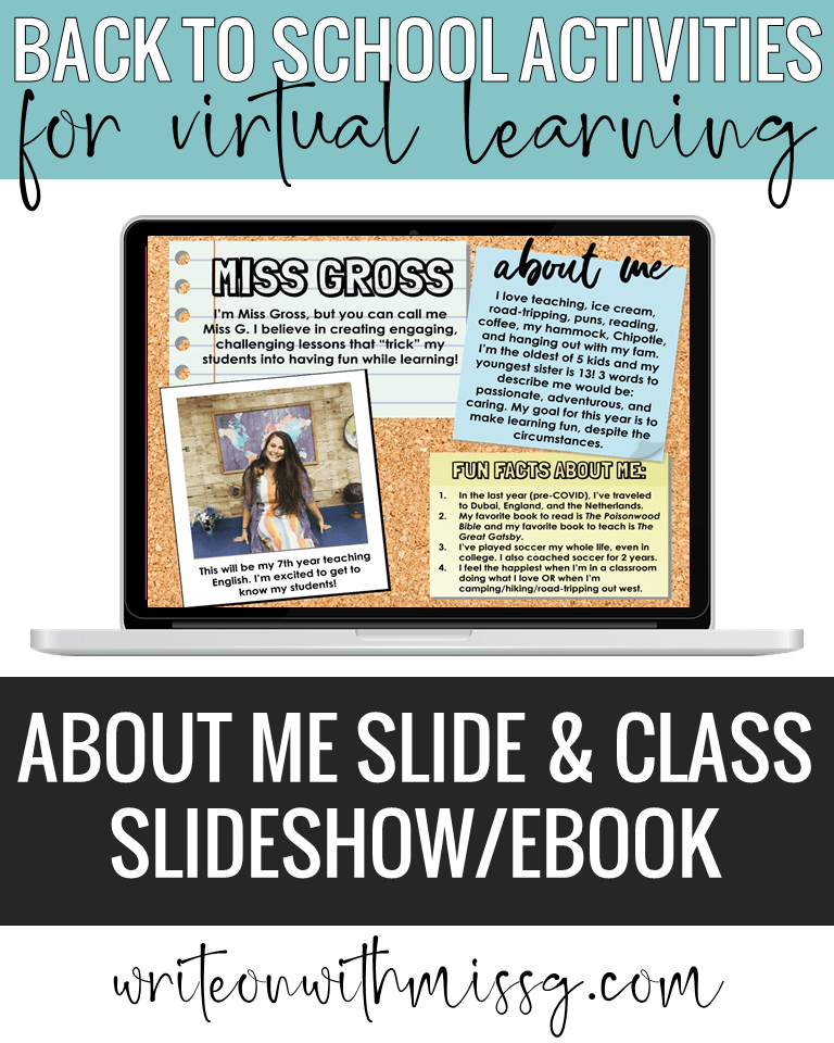 Back to school activity: All About Me Slide & Class Slideshow/Ebook