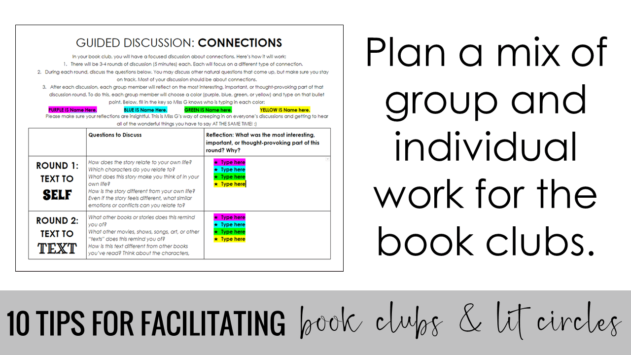 Plan a mix of group and individual work for the book clubs.