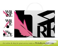 Three Logomark Designs, and alternate treatment for use on a shopping bag, by Christine G. Adamo of WriteReviseEdit.com