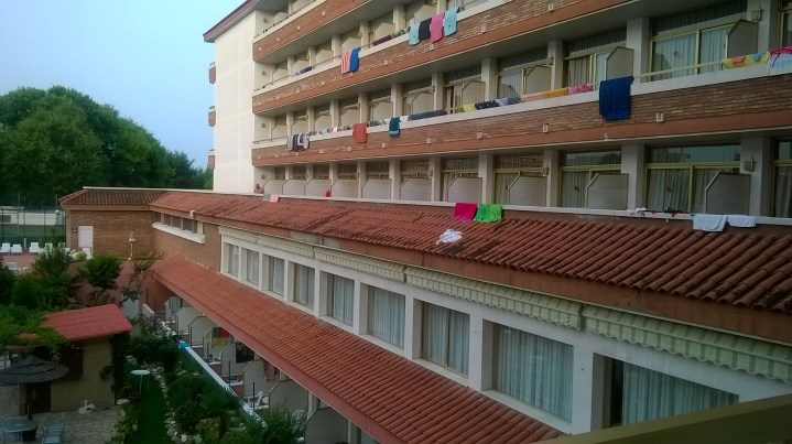 View of other guests' balconies from our hotel room