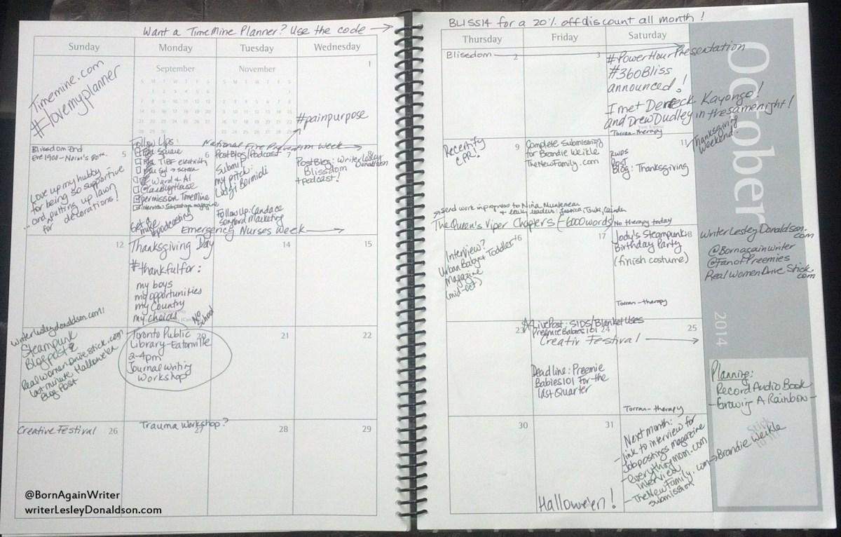 TimeMine planner: October 2014 Calendar for WriterLesleyDonaldson.com