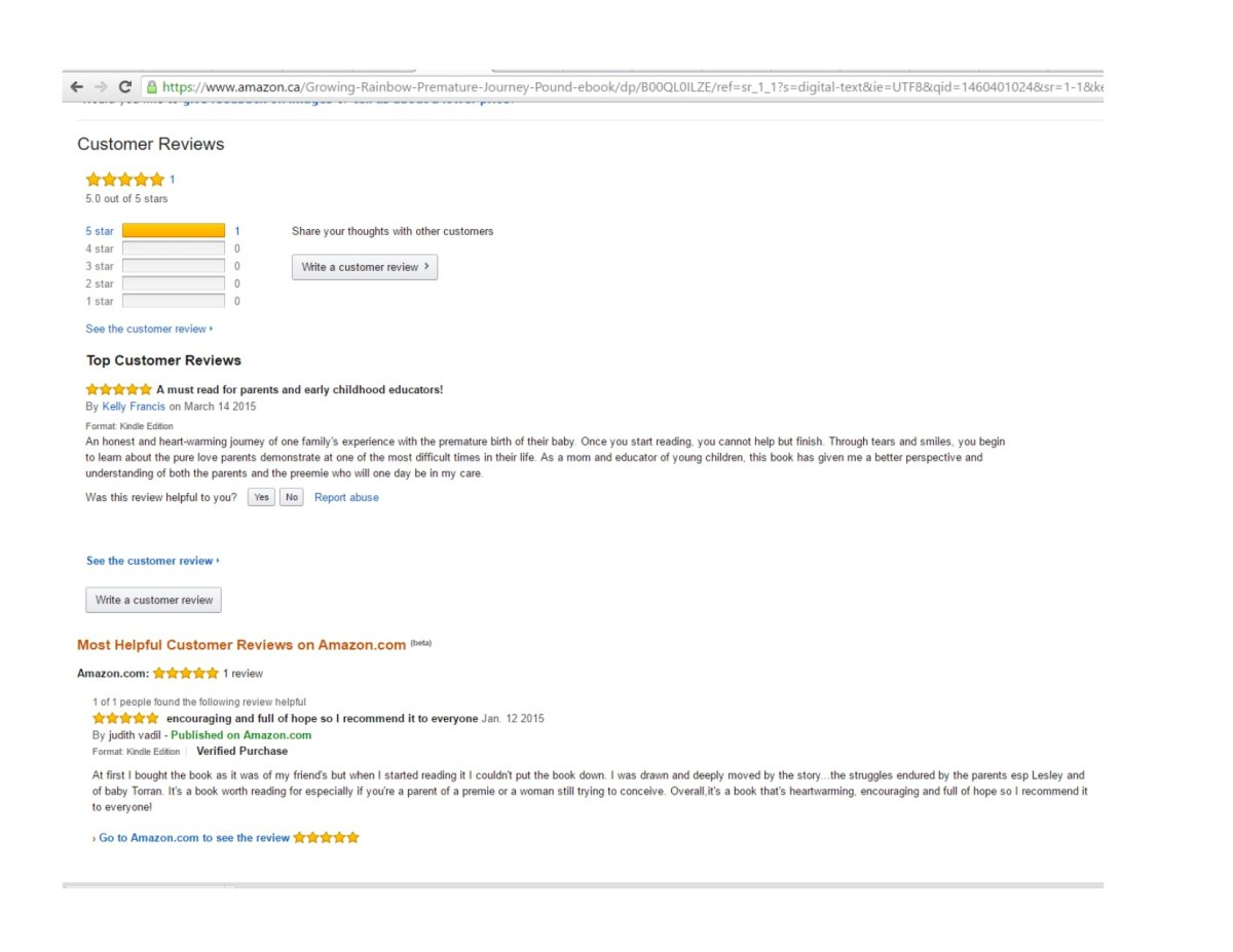 Amazon Reviews Growing a Rainbow - screen capture