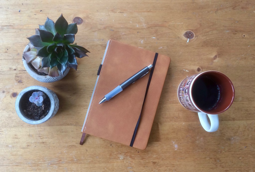 Best notebook for writing with pen, coffee mug and plants on a table top.