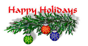 Happy Holidays gif.. a tree branch with ornaments.