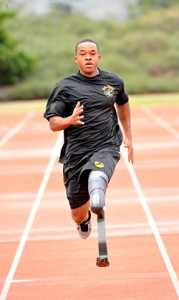 0984-JerrodFieldsSprints.jpg: U.S. Army World Class Athelte Program Paralympic sprinter hopeful Sgt. Jerrod Fields, seen here working out at the U.S. Olympic Training Center in Chula Vista, Calif., won the 100 meters with a time of 12.15 seconds at the 2009 Endeavor Games in Edmond, Okla., on June 13. Photo by Tim Hipps, FMWRC Public Affairs