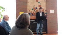 Brent VanFossen reads poetry at Poetry Reading for Writers in the Grove at Library.