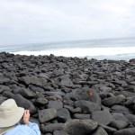 Hiking across lava rocks