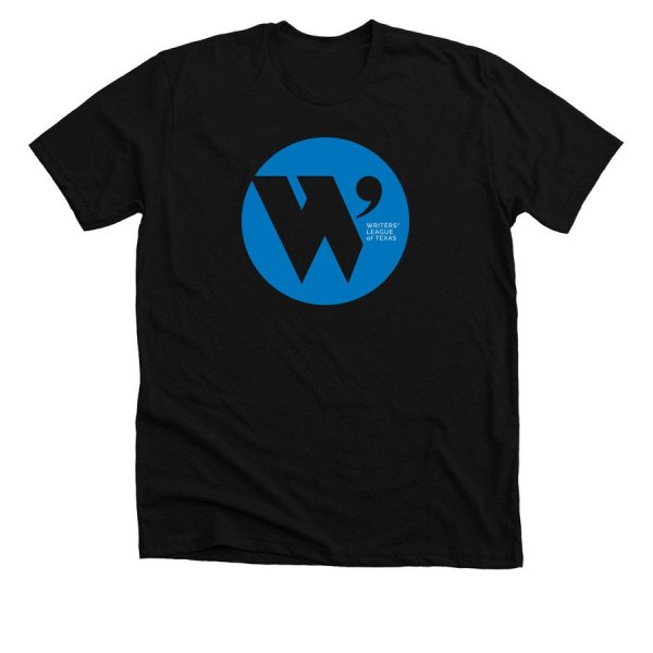 black t shirt with the W.L.T. circle logo in blue