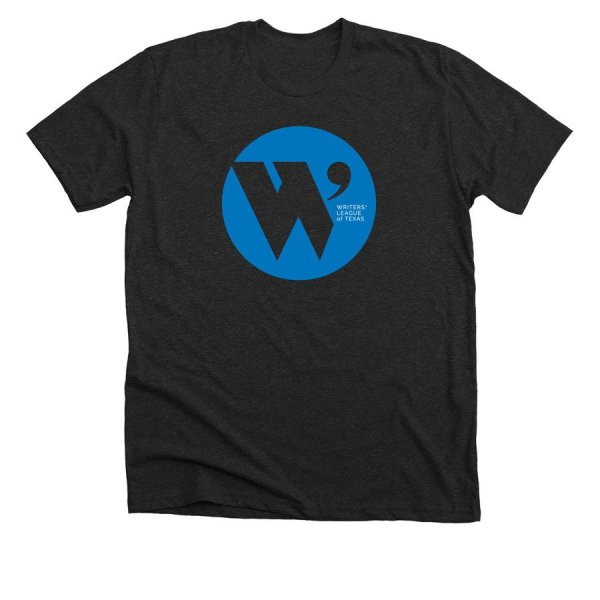 charcoal gray t shirt with the W.L.T. circle logo in blue