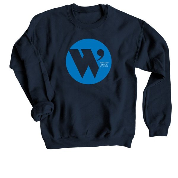 navy sweatshirt with the W.L.T. circle logo in blue