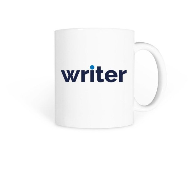white coffee mug with writer in blue text