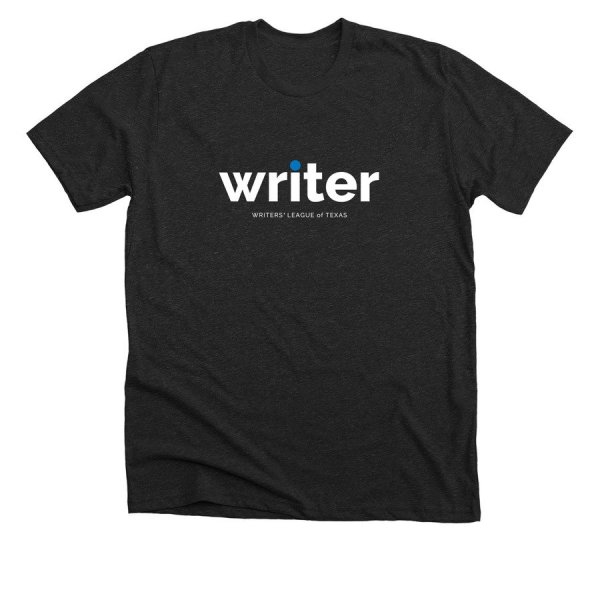 charcoal gray t shirt with writer in white text
