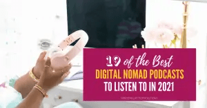 digital nomad podcasts pink headphones and apple monitor