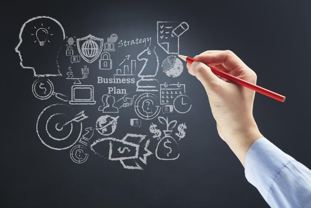 Business plan strategy on a chalkboard